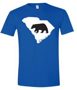 Short Sleeve T-Shirt South Carolina Royal Black Bear Vibrant Design High Quality Tight Knit Ring Spun Low Maintenance Cotton Printed With The Newest Available Color Transfer Technology