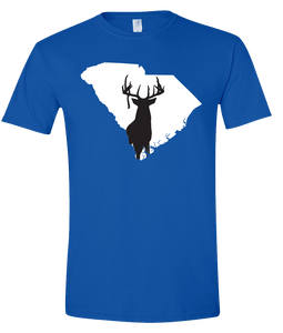 Short Sleeve T-Shirt South Carolina Royal Whitetail Deer Vibrant Design High Quality Tight Knit Ring Spun Low Maintenance Cotton Printed With The Newest Available Color Transfer Technology