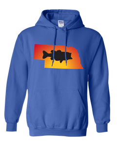 Pullover Hooded Sweatshirt Nebraska Royal Large Mouth Bass Vibrant Design High Quality Tight Knit Ring Spun Low Maintenance Cotton Printed With The Newest Available Color Transfer Technology