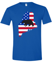 Load image into Gallery viewer, Short Sleeve T-Shirt Maine Royal Black Bear Vibrant Design High Quality Tight Knit Ring Spun Low Maintenance Cotton Printed With The Newest Available Color Transfer Technology