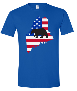 Short Sleeve T-Shirt Maine Royal Black Bear Vibrant Design High Quality Tight Knit Ring Spun Low Maintenance Cotton Printed With The Newest Available Color Transfer Technology