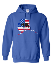 Load image into Gallery viewer, Pullover Hooded Sweatshirt Alaska Royal Black Bear Vibrant Design High Quality Tight Knit Ring Spun Low Maintenance Cotton Printed With The Newest Available Color Transfer Technology