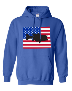 Pullover Hooded Sweatshirt Wyoming Royal Large Mouth Bass Vibrant Design High Quality Tight Knit Ring Spun Low Maintenance Cotton Printed With The Newest Available Color Transfer Technology