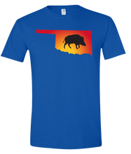 Load image into Gallery viewer, Short Sleeve T-Shirt Oklahoma Royal Wild Hog Vibrant Design High Quality Tight Knit Ring Spun Low Maintenance Cotton Printed With The Newest Available Color Transfer Technology