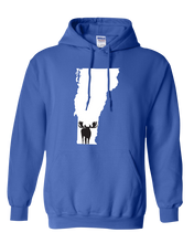 Load image into Gallery viewer, Pullover Hooded Sweatshirt Vermont Royal Moose Vibrant Design High Quality Tight Knit Ring Spun Low Maintenance Cotton Printed With The Newest Available Color Transfer Technology