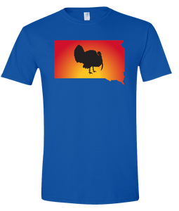 Short Sleeve T-Shirt South Dakota Royal Turkey Vibrant Design High Quality Tight Knit Ring Spun Low Maintenance Cotton Printed With The Newest Available Color Transfer Technology