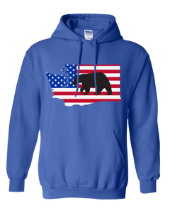 Pullover Hooded Sweatshirt Washington Royal Black Bear Vibrant Design High Quality Tight Knit Ring Spun Low Maintenance Cotton Printed With The Newest Available Color Transfer Technology