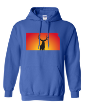 Load image into Gallery viewer, Pullover Hooded Sweatshirt Kansas Royal Mule Deer Vibrant Design High Quality Tight Knit Ring Spun Low Maintenance Cotton Printed With The Newest Available Color Transfer Technology