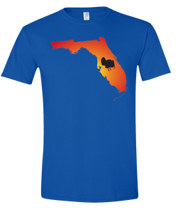 Short Sleeve T-Shirt Florida Royal Turkey Vibrant Design High Quality Tight Knit Ring Spun Low Maintenance Cotton Printed With The Newest Available Color Transfer Technology