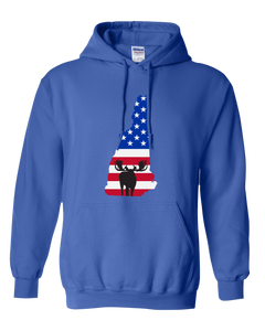 Pullover Hooded Sweatshirt New Hampshire Royal Moose Vibrant Design High Quality Tight Knit Ring Spun Low Maintenance Cotton Printed With The Newest Available Color Transfer Technology