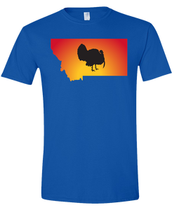 Short Sleeve T-Shirt Montana Royal Turkey Vibrant Design High Quality Tight Knit Ring Spun Low Maintenance Cotton Printed With The Newest Available Color Transfer Technology