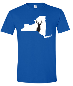 Short Sleeve T-Shirt New York Royal Whitetail Deer Vibrant Design High Quality Tight Knit Ring Spun Low Maintenance Cotton Printed With The Newest Available Color Transfer Technology