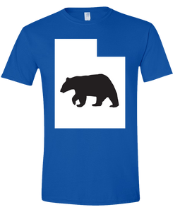 Short Sleeve T-Shirt Utah Royal Black Bear Vibrant Design High Quality Tight Knit Ring Spun Low Maintenance Cotton Printed With The Newest Available Color Transfer Technology