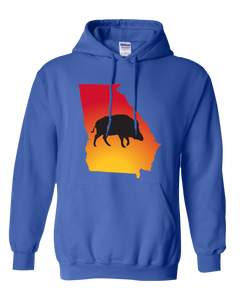 Pullover Hooded Sweatshirt Georgia Royal Wild Hog Vibrant Design High Quality Tight Knit Ring Spun Low Maintenance Cotton Printed With The Newest Available Color Transfer Technology