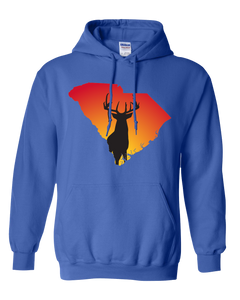 Pullover Hooded Sweatshirt South Carolina Royal Whitetail Deer Vibrant Design High Quality Tight Knit Ring Spun Low Maintenance Cotton Printed With The Newest Available Color Transfer Technology