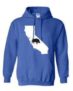 Pullover Hooded Sweatshirt California Royal Wild Hog Vibrant Design High Quality Tight Knit Ring Spun Low Maintenance Cotton Printed With The Newest Available Color Transfer Technology