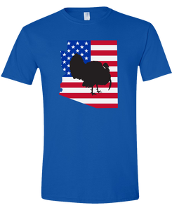 Short Sleeve T-Shirt Arizona Royal Turkey Vibrant Design High Quality Tight Knit Ring Spun Low Maintenance Cotton Printed With The Newest Available Color Transfer Technology