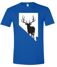 Load image into Gallery viewer, Short Sleeve T-Shirt Nevada Royal Elk Vibrant Design High Quality Tight Knit Ring Spun Low Maintenance Cotton Printed With The Newest Available Color Transfer Technology