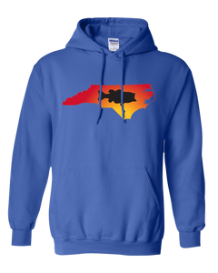 Pullover Hooded Sweatshirt North Carolina Royal Large Mouth Bass Vibrant Design High Quality Tight Knit Ring Spun Low Maintenance Cotton Printed With The Newest Available Color Transfer Technology