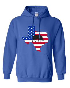 Pullover Hooded Sweatshirt Texas Royal Wild Hog Vibrant Design High Quality Tight Knit Ring Spun Low Maintenance Cotton Printed With The Newest Available Color Transfer Technology
