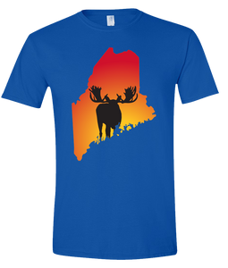 Short Sleeve T-Shirt Maine Royal Moose Vibrant Design High Quality Tight Knit Ring Spun Low Maintenance Cotton Printed With The Newest Available Color Transfer Technology