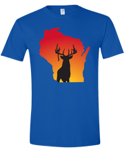 Load image into Gallery viewer, Short Sleeve T-Shirt Wisconsin Royal Whitetail Deer Vibrant Design High Quality Tight Knit Ring Spun Low Maintenance Cotton Printed With The Newest Available Color Transfer Technology