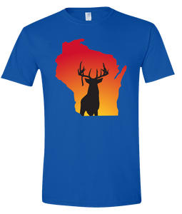 Short Sleeve T-Shirt Wisconsin Royal Whitetail Deer Vibrant Design High Quality Tight Knit Ring Spun Low Maintenance Cotton Printed With The Newest Available Color Transfer Technology