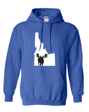Load image into Gallery viewer, Pullover Hooded Sweatshirt Idaho Royal Moose Vibrant Design High Quality Tight Knit Ring Spun Low Maintenance Cotton Printed With The Newest Available Color Transfer Technology