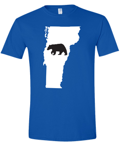 Short Sleeve T-Shirt Vermont Royal Black Bear Vibrant Design High Quality Tight Knit Ring Spun Low Maintenance Cotton Printed With The Newest Available Color Transfer Technology
