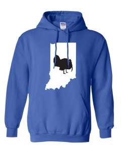 Pullover Hooded Sweatshirt Indiana Royal Turkey Vibrant Design High Quality Tight Knit Ring Spun Low Maintenance Cotton Printed With The Newest Available Color Transfer Technology