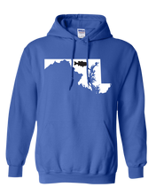 Load image into Gallery viewer, Pullover Hooded Sweatshirt Maryland Royal Large Mouth Bass Vibrant Design High Quality Tight Knit Ring Spun Low Maintenance Cotton Printed With The Newest Available Color Transfer Technology