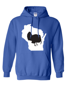 Pullover Hooded Sweatshirt Wisconsin Royal Turkey Vibrant Design High Quality Tight Knit Ring Spun Low Maintenance Cotton Printed With The Newest Available Color Transfer Technology