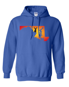 Pullover Hooded Sweatshirt Maryland Royal Whitetail Deer Vibrant Design High Quality Tight Knit Ring Spun Low Maintenance Cotton Printed With The Newest Available Color Transfer Technology