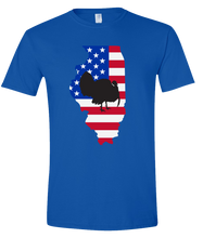 Load image into Gallery viewer, Short Sleeve T-Shirt Illinois Royal Turkey Vibrant Design High Quality Tight Knit Ring Spun Low Maintenance Cotton Printed With The Newest Available Color Transfer Technology