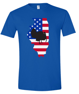 Short Sleeve T-Shirt Illinois Royal Turkey Vibrant Design High Quality Tight Knit Ring Spun Low Maintenance Cotton Printed With The Newest Available Color Transfer Technology