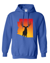 Load image into Gallery viewer, Pullover Hooded Sweatshirt Arizona Royal Mule Deer Vibrant Design High Quality Tight Knit Ring Spun Low Maintenance Cotton Printed With The Newest Available Color Transfer Technology