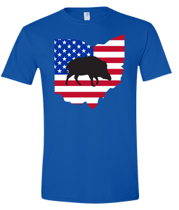 Short Sleeve T-Shirt Ohio Royal Wild Hog Vibrant Design High Quality Tight Knit Ring Spun Low Maintenance Cotton Printed With The Newest Available Color Transfer Technology