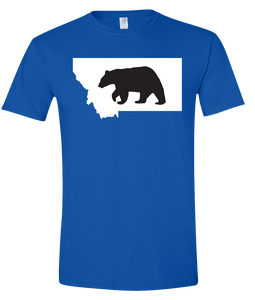 Short Sleeve T-Shirt Montana Royal Black Bear Vibrant Design High Quality Tight Knit Ring Spun Low Maintenance Cotton Printed With The Newest Available Color Transfer Technology