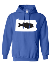 Load image into Gallery viewer, Pullover Hooded Sweatshirt Pennsylvania Royal Large Mouth Bass Vibrant Design High Quality Tight Knit Ring Spun Low Maintenance Cotton Printed With The Newest Available Color Transfer Technology