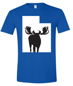 Short Sleeve T-Shirt Utah Royal Moose Vibrant Design High Quality Tight Knit Ring Spun Low Maintenance Cotton Printed With The Newest Available Color Transfer Technology