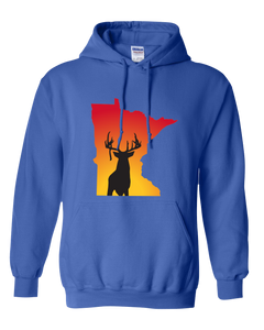 Pullover Hooded Sweatshirt Minnesota Royal Whitetail Deer Vibrant Design High Quality Tight Knit Ring Spun Low Maintenance Cotton Printed With The Newest Available Color Transfer Technology