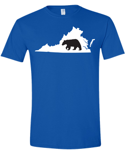 Short Sleeve T-Shirt Virginia Royal Black Bear Vibrant Design High Quality Tight Knit Ring Spun Low Maintenance Cotton Printed With The Newest Available Color Transfer Technology