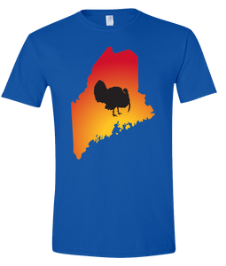 Short Sleeve T-Shirt Maine Royal Turkey Vibrant Design High Quality Tight Knit Ring Spun Low Maintenance Cotton Printed With The Newest Available Color Transfer Technology