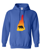 Load image into Gallery viewer, Pullover Hooded Sweatshirt New Hampshire Royal Black Bear Vibrant Design High Quality Tight Knit Ring Spun Low Maintenance Cotton Printed With The Newest Available Color Transfer Technology