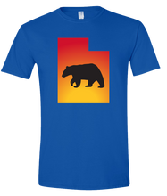 Load image into Gallery viewer, Short Sleeve T-Shirt Utah Royal Black Bear Vibrant Design High Quality Tight Knit Ring Spun Low Maintenance Cotton Printed With The Newest Available Color Transfer Technology