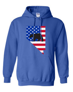Pullover Hooded Sweatshirt Nevada Royal Black Bear Vibrant Design High Quality Tight Knit Ring Spun Low Maintenance Cotton Printed With The Newest Available Color Transfer Technology