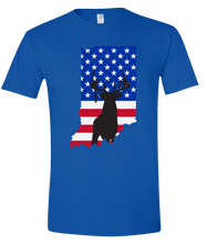 Load image into Gallery viewer, Short Sleeve T-Shirt Indiana Royal Whitetail Deer Vibrant Design High Quality Tight Knit Ring Spun Low Maintenance Cotton Printed With The Newest Available Color Transfer Technology
