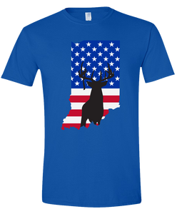 Short Sleeve T-Shirt Indiana Royal Whitetail Deer Vibrant Design High Quality Tight Knit Ring Spun Low Maintenance Cotton Printed With The Newest Available Color Transfer Technology