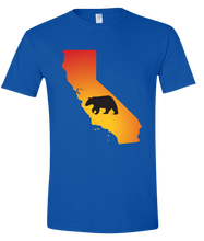 Load image into Gallery viewer, Short Sleeve T-Shirt California Royal Black Bear Vibrant Design High Quality Tight Knit Ring Spun Low Maintenance Cotton Printed With The Newest Available Color Transfer Technology