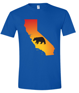 Short Sleeve T-Shirt California Royal Black Bear Vibrant Design High Quality Tight Knit Ring Spun Low Maintenance Cotton Printed With The Newest Available Color Transfer Technology